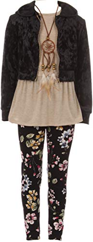 BNY Corner Big Girl 4 Pieces Jacket Tank Top Legging Necklace Winter Girls Pant Set Black 10 JKS 2099