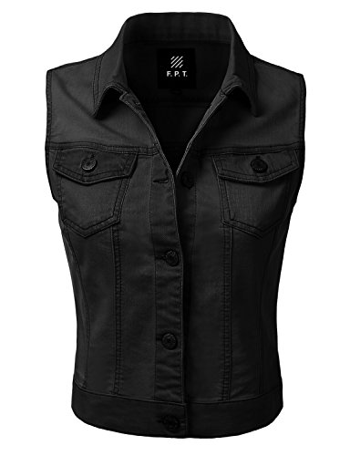 FPT Destroyed Denim Jean Cropped Vest Jacket BLACK M