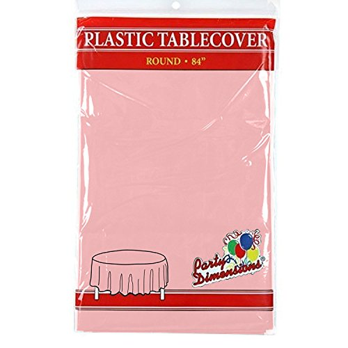 - Pink Round Plastic Tablecloth - 4 Pack - Premium Quality Disposable Party Table Covers for Parties and Events - 84
