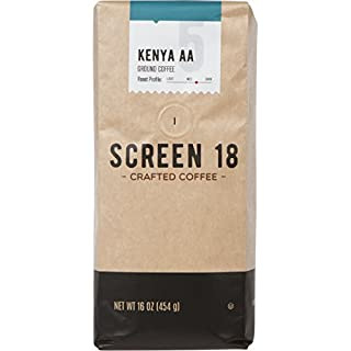 Screen 18 Kenyan AA Single Origin Premium Crafted Coffee, Ground, Medium/Dark Roast, 1 LB Bag