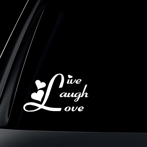 Live Laugh Love Car Decal / Sticker - White