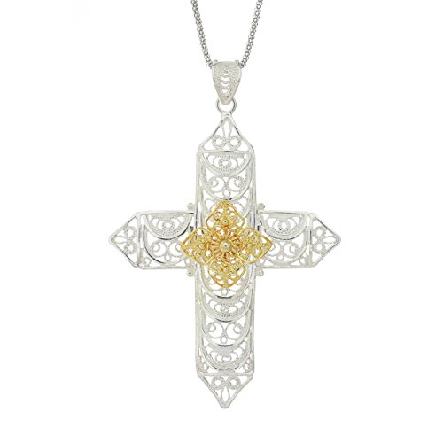 Ottoman Silver Collection 925 Sterling Silver Gold-White Tone Filigree Cross on a Chain