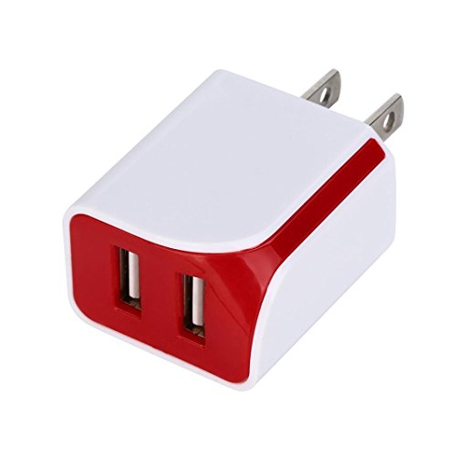 DRACLE Wall Charger, 5V 2A Dual Ports USB US Wall AC Adptive Fast charger Adapter (Red)