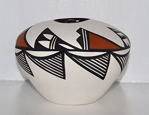 Usa Pottery Vase (Genuine Pueblo of Acoma Pottery Seed Pot with Bear Claw Design)