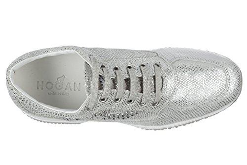 Hogan scarpe sneakers donna in pelle nuove interactive argento
