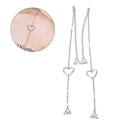 BESTOYARD Rhinestone Bra Straps Crystal Bra Straps Removable Bra Strap Replacement For Bra Tops Dress (Silver) free shipping