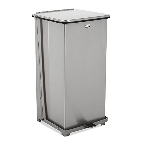 Rubbermaid Commercial FGST24SSRB The Defenders Steel Medical Step Trash Can with Retaining Band, 24-Gallon, Stainless Steel