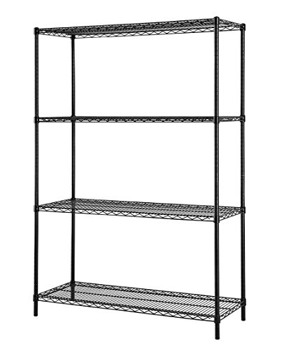 Excel ES-481860P NSF Certified Multi Purpose 4-Tier Wire  Shelving Unit, 48 x 18 x 60-Inch, Black Powder Coat
