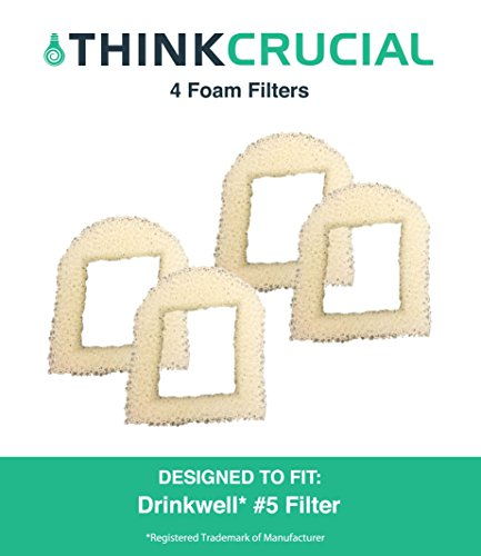 4 Replacements for Drinkwell Foam Pre Filters, Fits 360, Lotus, Avalon, Pagoda & Sedona Pet Fountains, by Think Crucial