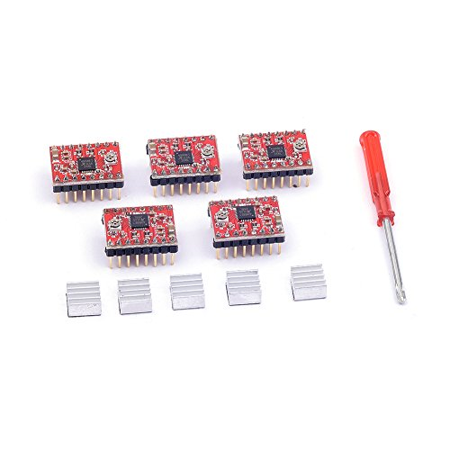 Cylewet 5Pcs A4988 StepStick Stepper Motor Driver Module with Pins and Heat Sink for 3D Printer Reprap (Pack of 5) CTY1048