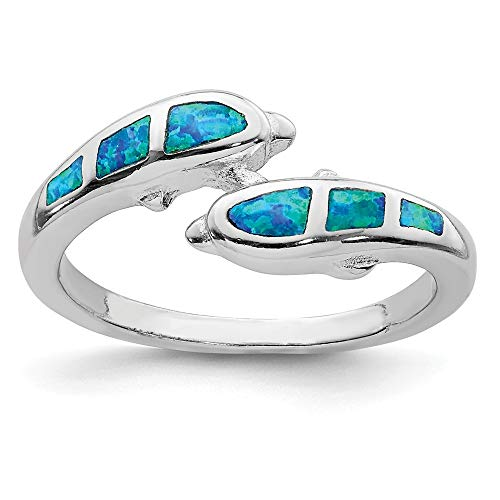 925 Sterling Silver Created Blue Opal Dolphins Band Ring Size 7.00 Sea Shell Life Fine Jewelry Gifts For Women For Her