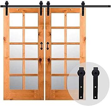304CM/10FT Puerta de granero corredera estilo rústico puerta de granero corredera de madera para armario puerta granero herraje colgadocon guía rodamientos deslizantes, para puerta doble: Amazon.es: Bricolaje y herramientas