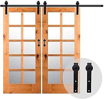152CM//5FT Puerta de granero corredera estilo r/ústico puerta de granero corredera de madera para armario puerta granero herraje colgadocon gu/ía rodamientos deslizantes para puerta doble