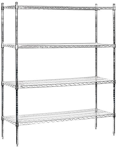 Salsbury Industries Stationary Wire Shelving Unit, 60-Inch Wide by 74-Inch High by 18-Inch Deep, ()