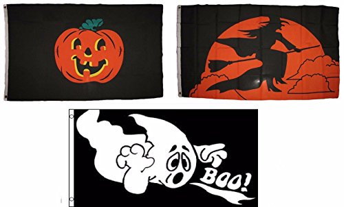 ALBATROS 3 ft x 5 ft Happy Halloween 3 Pack Flag Set #201 Combo Banner Grommets for Home and Parades, Official Party, All Weather Indoors Outdoors]()