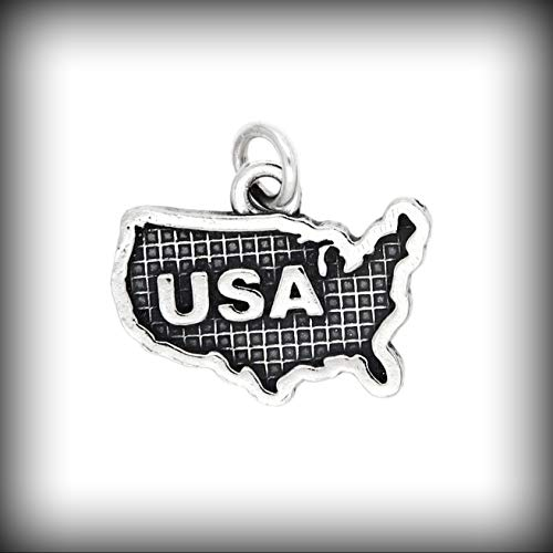 Sterling Silver Map of U.S.A. Charm Vintage Crafting Pendant Jewelry Making Supplies - DIY for Necklace Bracelet Accessories by CharmingSS from CharmingStuffS