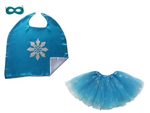 [Superhero or Princess TUTU, CAPE, MASK SET COSTUME - Kids Childrens Halloween (Frozen Snow Queen - Sparkle Blue)] (Super Sparkle Costume)