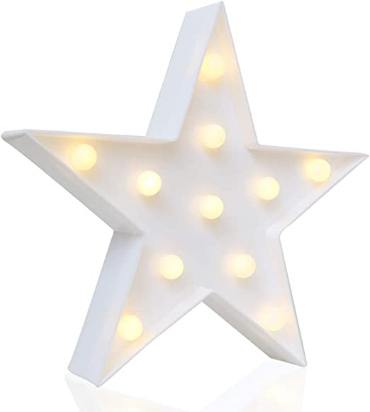 Battery Powered 10 Inches High Novelty Place Designer Star Marquee Sign Lights Bedroom Table /& Wall Christmas Decoration for Kids /& Adults Living Room Warm White LED Lamp