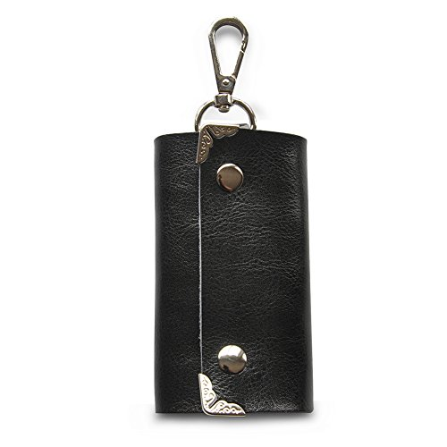 ZYSUN Genuine Leather Key Holder Wallet Slim Compact Key Case Pouch With Six Key Hook