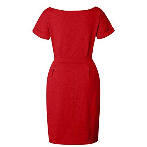 La Vestidos Playa Algodon Vestidos Vestidos Mujer De Rodilla De Para Mujer Bolsillo Vestidos Manga Vestido Casual AIMEE7 Mujer Rojo Vestido Mujer Mujer Corta Hasta De Mini Vestidos OZaxPRO
