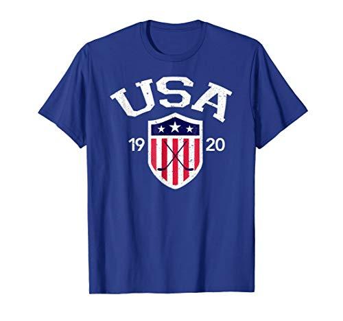 Mens Vintage USA National Hockey T-shirt 2XL Royal Blue