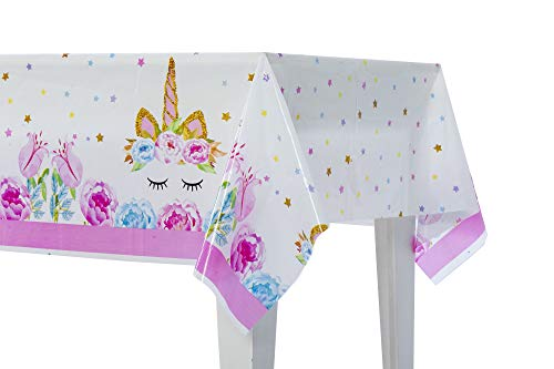 54 x 108 Unicorn Party Supplies   Plastic Tablecloth   Pink & Light Blue   Disposable Table Cover   Birthday Decorations Baby Shower Gender Reveal   For Rectangle Tables   Girl & Boy