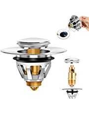 Stainless Steel Drain Plug, No Overflow Bounce Bullet Core Push Type Converter, Basin Pop Up Drain Filter Hair Stopper for Bathroom Kitchen Sink (1PCS)