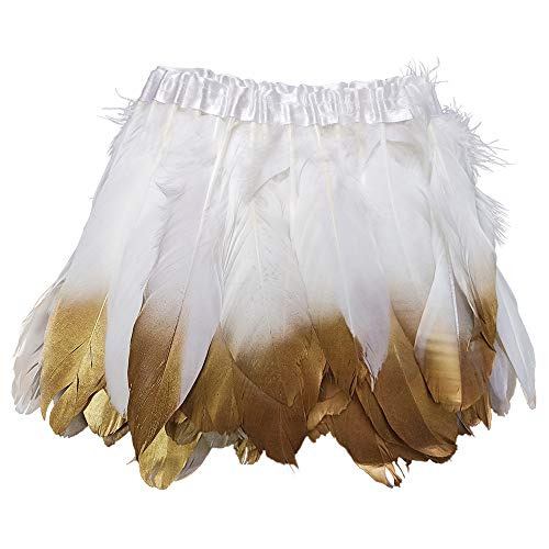 (wanjin Duck Goose Feathers Trim Fringe Craft Feather Clothing Accessories Pack of 2 Yards(White and)