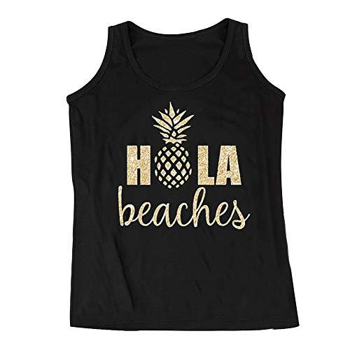 (CHoppyWAVE Casual Tunic Tank Top,Women Casual Hola Beaches Letter Pineapple Print Tank Top Summer Loose Vest Black M)