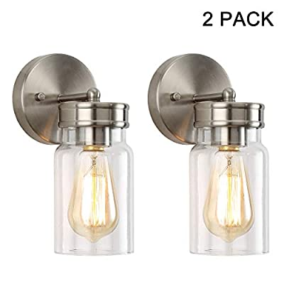 HOMIFORCE Contemporary Style 2-Light Brushed Nickel Wall Sconce Set of Two with Super-Thick Glass Shade Simplicity Industrial Retro Edison Fixture in Nickel Finish CL2017090-2