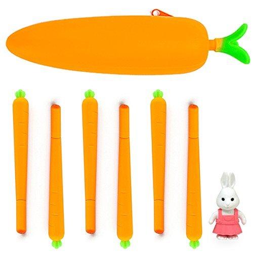 DomeStar 8 Pcs Novelty Carrots Pen Silicone Vegetable Pen Set, Creative Ballpoint Writing Pens Ball Pen Cute Pen With Carrot Pencil Case, Rabbit Eraser