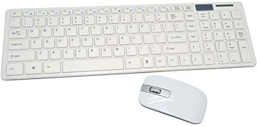 OMONLINE Ultra Thin Combo of Multimedia Wireless Keyboard & Mouse Compact Light-Weight for PCs/Laptops and Smart TV (White Color)