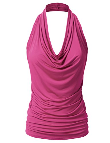 EIMIN Women's Casual Halter Neck Draped Front Sexy Backless Tank Top Fuchsia S
