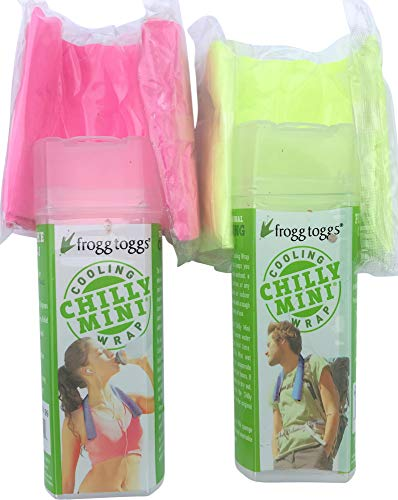 Frogg Togg Chilly Mini Cooling Towel Neck Wrap Chill Pad Hi-Vis Green Pink (2-Pack)