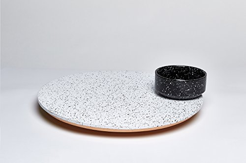Solar Lunar Eclipse Black and White Hand Painted Ceramic Eclipse Lazy Susan Rotating Platter And Bowl Set - 16 Inch by doiy