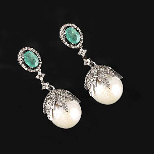 Genuine 1.35 Ct. Pave Diamond Pearl Emerald Gemstone Dangle Earrings 925 Sterling Silver Carved Jewelry Christmas Gift For Her ()