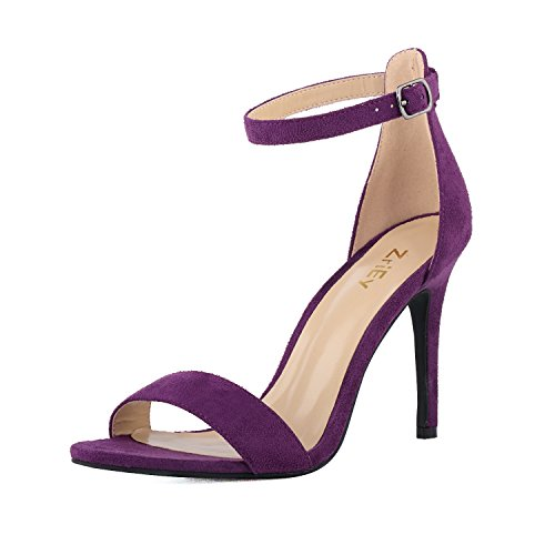 ZriEy Women's Heeled Sandals Ankle Strap High Heels 10CM Open Toe Bridal Party Shoes Velvet Purple Size 5