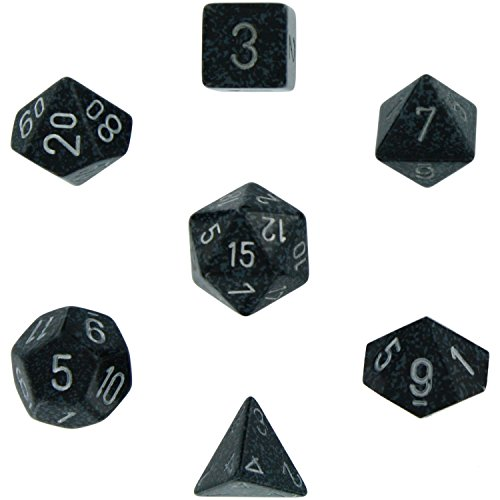 Chessex Dice: Polyhedral 7-Die Speckled Dice Set - Ninja (2 Packs) by Chessex by Chessex