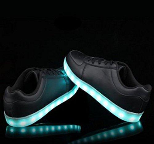 (Present:kleines Handtuch)JUNGLEST® 7 Farbe USB Aufladen LED Leuchtend Sport Schuhe Sportschuhe Sneaker Turnschuhe für Unisex-Erwa Schwarz