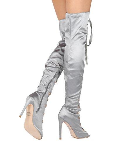 Alrisco Dames Dij Hoge Stiletto Laars - Peep Toe Otk Corset Hak Laars - Chic Kostuum Cosplay Partij Sexy Laars - He38 Door Elegante Collectie Grijs Satijn