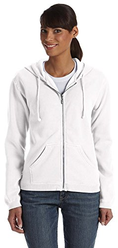 Comfort Colors Ladies 10 oz. Garment-Dyed Full-Zip Hood, 2XL, WHITE