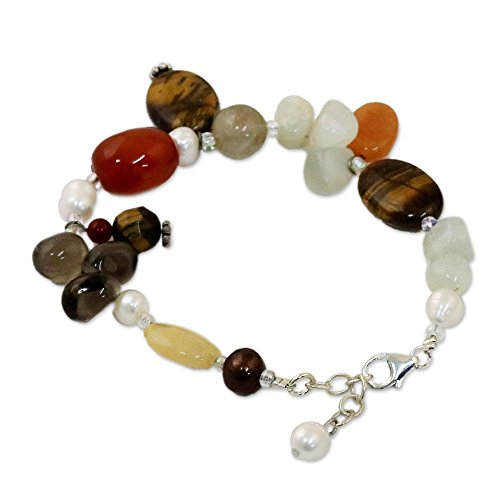 NOVICA Multi-Gem Tigers Eye Cultured Freshwater Pearl .925 Sterling Beaded Bracelet 'Sun Goddess'