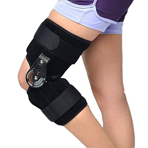 Ober Adjustable Medical Hinged Knee Orthosis Brace Support Ligament Sport Injury Orthopedic Splint Osteoarthritis Knee Pain Pads (L)