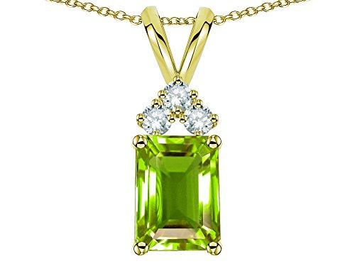 Star K Classic Emerald Octagon Cut 8x6mm Genuine Peridot Rabbit Ear Pendant Necklace 14 kt Yellow Gold (Peridot Star Pendant)