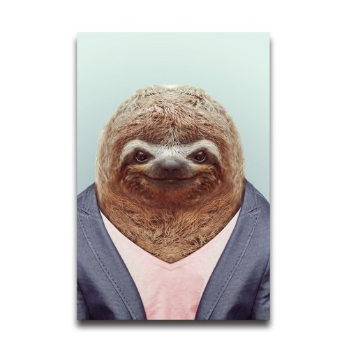 Sloth In Cloth Funny Design Animal Poster Wall Sticker Home Room Wall Sticker (Bin Liner Witch Costume)