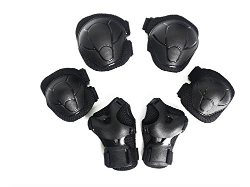 Skating 6 Pcs/Set Kid's Protective Gear Set with Elbow Knee Wrist Pad for Roller Skating Skateboard BMX Scooter Cycling (Black S) for Protection by Wetietir