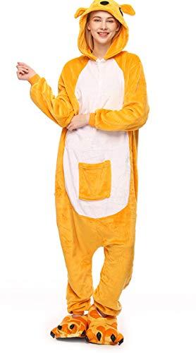LmeiKK Women's Cosplay Flannel Anime Cartoon Onesie Adult Pajamas Kangaroo Yellow (M)]()