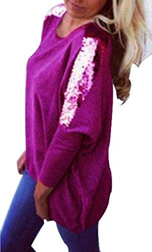 Paillettes Tops Rond Longue Hauts Rose Tunique Printemps Jumpers Rouge Col Manches Shirts Blouse Fashion Automne Casual et New Femmes Sweat pissure Shirt Pulls Longues T t88TZI