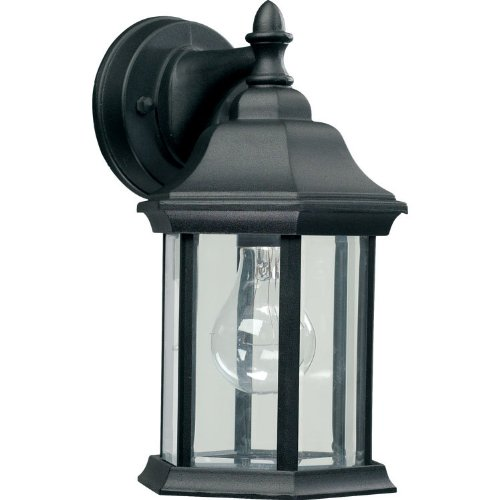 Quorum 787-15 One Light Wall Lantern, Black Finish with Clear Glass