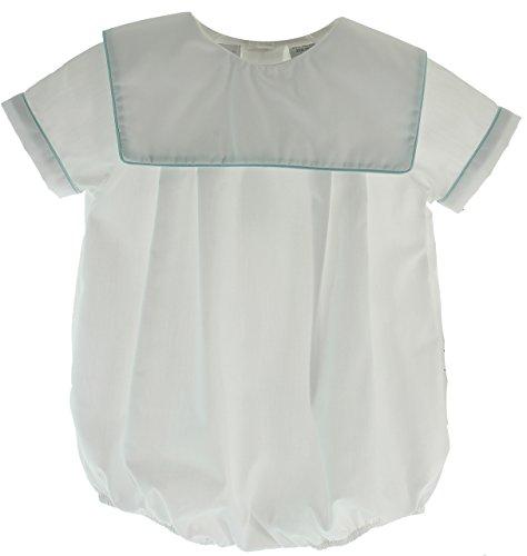 Infant Boys White Dress Romper Square Monogram Collar 6M